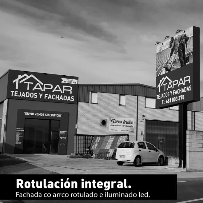 Rotulación integral envoltura de fachada y totem