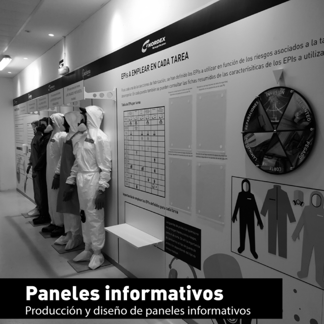 Panel informativo en centro de trabajo Acciona.
