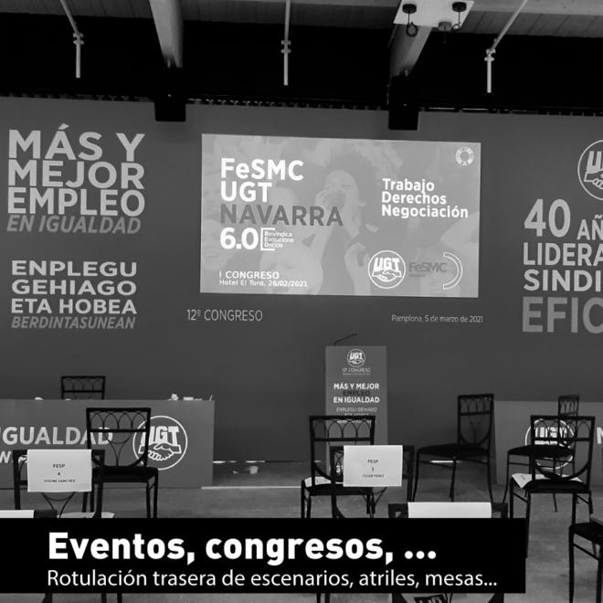Fondo de escenario, mesas, atril, etc para evento, congresos.
